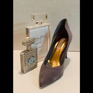 TED BAKER Gray Suede Stiletto Heels Rose Gold Xtra